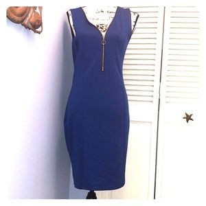 French Atmosphere Blue Zip Front Dress Size Large